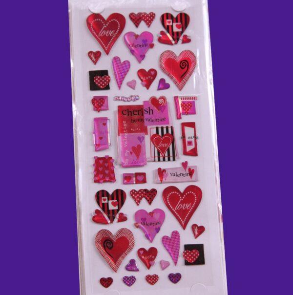 Adesivi stickers 3D GEL SAN VALENTINO CUORI LOVE AMORE cuore rosso SCRAPBOOKING