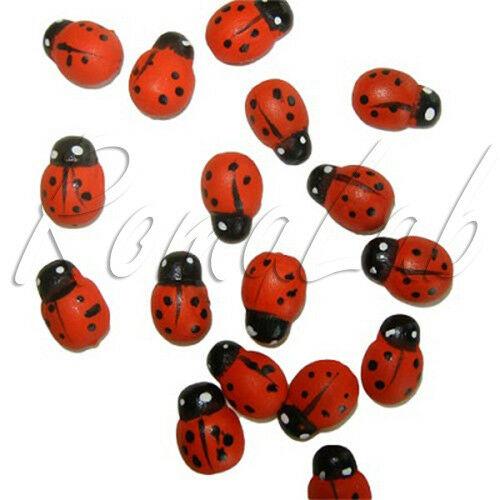 25 decorazioni in legno coccinelle ladybug ornamenti scrapbooking applicazioni