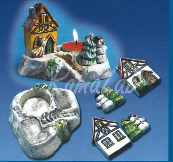 Stampo 3D PORTACANDELA diorama natalizio FORMINE MOLDS x colate gesso ceramico