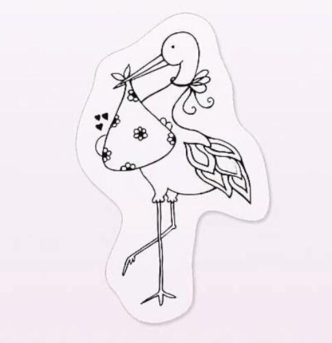 Tiimbro clear stamp cicogna nascita