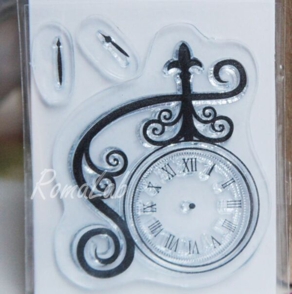 Timbro clear stamp orologio