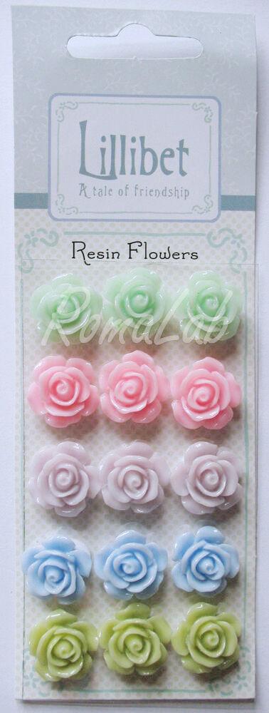 15 roselline cabochon adesive lucide color pastello fiori in resina 16 cm scrap