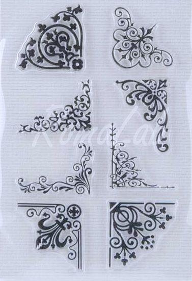 Timbro clear stamp bordi floreali angoli