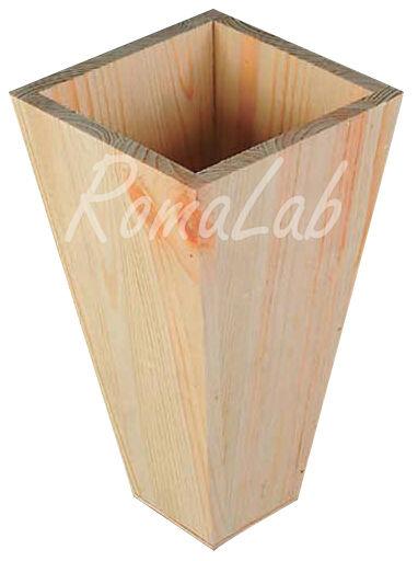 1 contenitore vaso IN LEGNO da rifinire decoupage stencil 292110892750