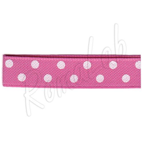 20 metri di nastrino di colore rosa con pois bianchi alto circa 10 mm ribbon 292112052528