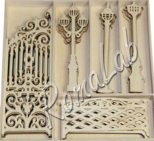 25 DECORAZIONI a tema giardino cancello e lampioni ORNAMENTI per SCRAPBOOKING 302311342933