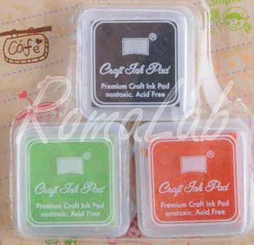 3 TAMPONI SET 3 COLORI base per timbri scrapbooking tamponcini inchiostro