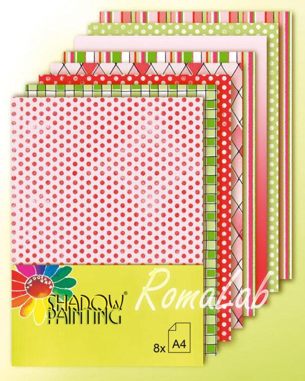 8 FOGLI di carta stampata A4 per SCRAPBOOKING SCRAP colori rosso e verde Natale 302311307395