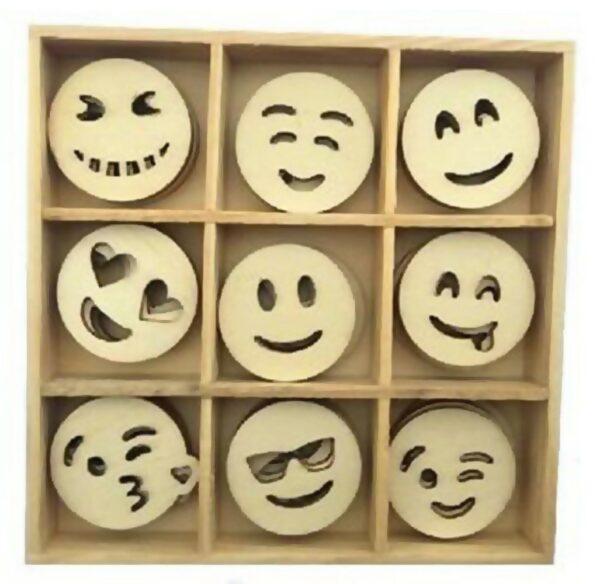 45 DECORAZIONI IN LEGNO 28 CM ORNAMENTI SCRAPBOOKING SMILE EMOTICONS applicazioni