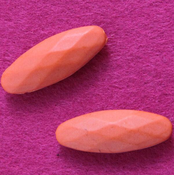 4 PERLE in acrilico sfaccettate arancioni PERLINE SPACER DISTANZIATORI 40 MM