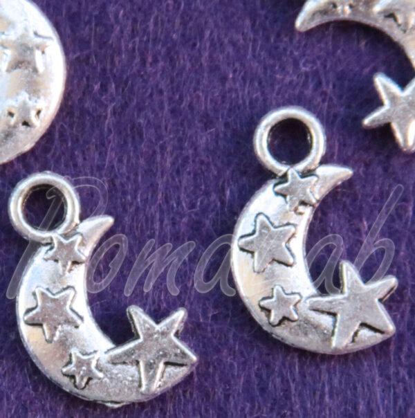 10 CHARMS LUNA CON STELLE CIONDOLO PENDENTE in argento tibetano bigiotteria 301994616690