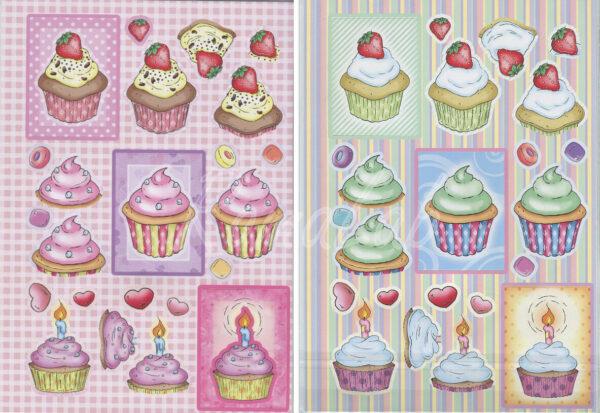 2 FOGLI pretagliati DI CARTONCINO kit dolcetti con fragola e candelina sweet A4 302002203370