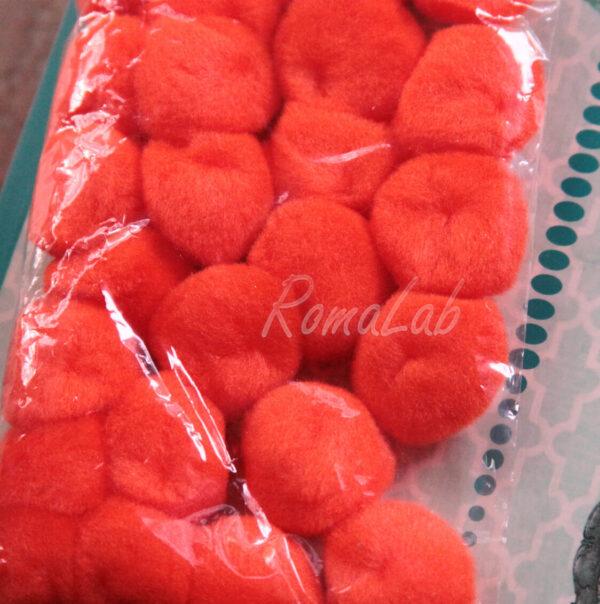 25 pom pom 25 mm ponpon arancio SCRAPBOOKING DECORAZIONI applicazioni BOMBONIERE 301092311540