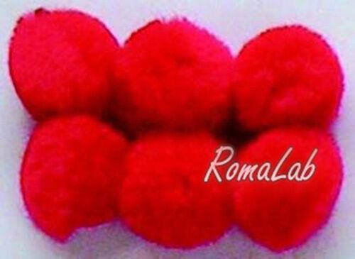 25 pom pom 25 mm ponpon rossi SCRAPBOOKING DECORAZIONI applicazioni BOMBONIERE 291801147950