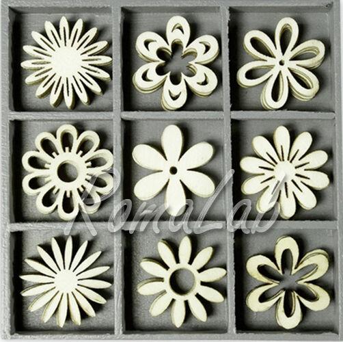 45 DECORAZIONI IN LEGNO a tema primavera fiori flower ORNAMENTI x SCRAPBOOKING 291799128300