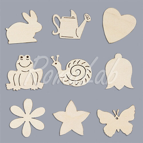 45 decorazioni in legno 2 3 CM ornamenti per scrapbooking cuore farfalla coni 301994662340