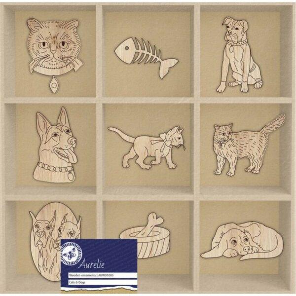 45 decorazioni in legno Aurelie Cats Dogs ornamenti scrapbooking cani e gatti 302371297850