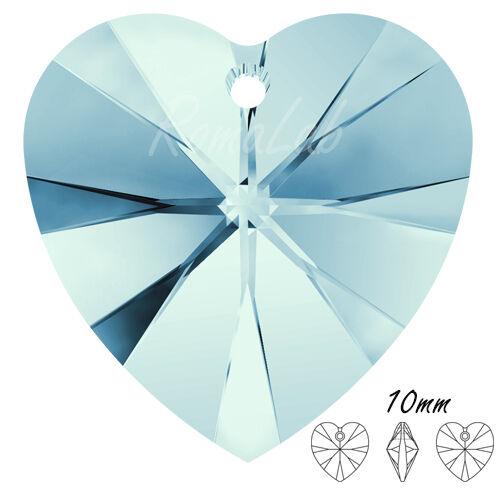 6 cristalli SWAROVSKI ciondolo a forma di cuore 10 mm colore acquamarina 291334014750