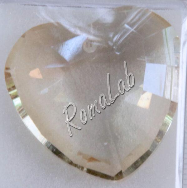 CUORE in vetro COLOR CHAMPAGNE 32 mm pendente ciondolo PER BIGIOTTERIA AMORE 301994687480