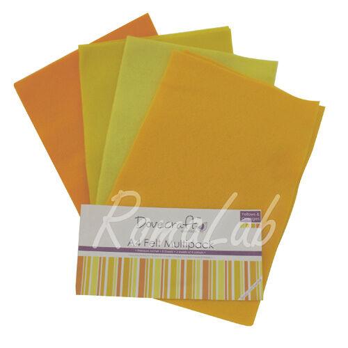 Confezione 8 fogli di feltro A4 in mix Dovecraft multipack toni giallo arancio 302360018700