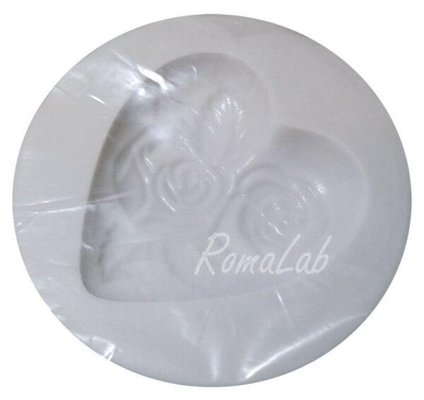 MINI STAMPO IN SILICONE FLESSIBILE cuore decorato con rose fiori love 292416624240
