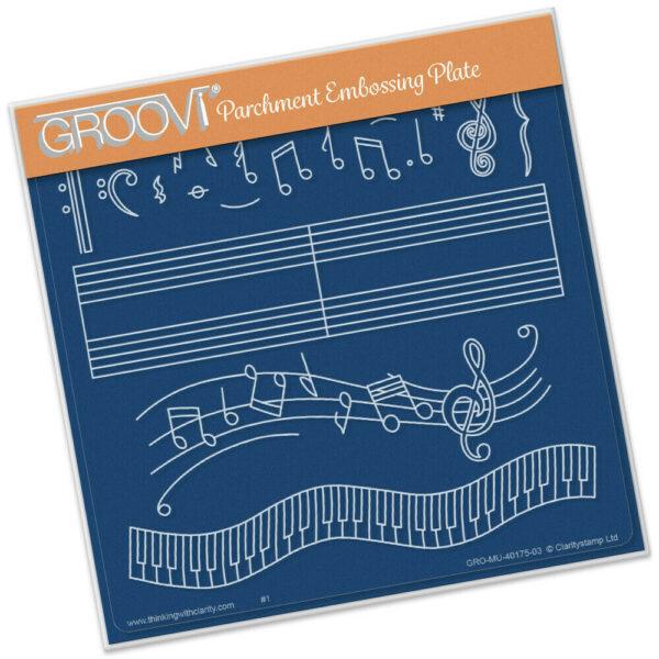 MODELLO Stencil spartito note musicali Groovi Plate A5 Musical Score musica P 303675609690