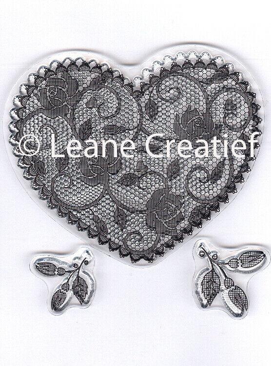 Set di 3 TIMBRI cuore in pizzo e decorazioni fiori clear stamp Lace Heart am 303104655980