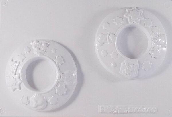 Stampo con 2 FORME PORTACANDELA Natale vigilia per colate di gesso ceramico 302479240600
