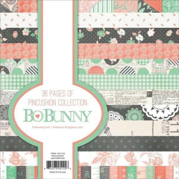 1 BLOCCO DI 36 FOGLI STAMPATI 15X15CM Pincushion Bo Bunny SCRAPBOOKING PAPER PAD 302688574621