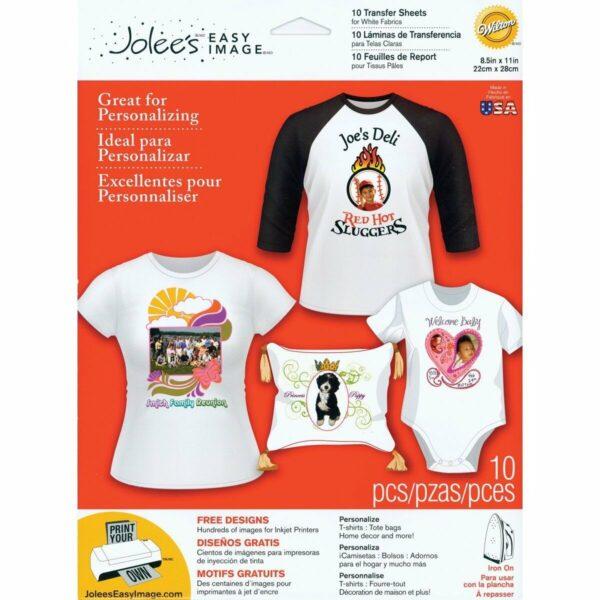 10 fogli 22 x 28 cm per transfer su tessuto chiaro magliette T Shirt Jolees E 292168737231