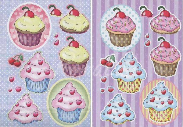 2 FOGLI pretagliati DI CARTONCINO kit dolcetti con ciliegina e cuori sweet A4 302002203981