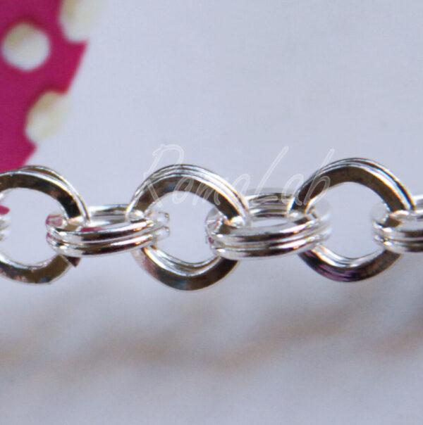 21 cm di CATENA catenina colo argento chiaro CERCHI a maglie doppie x bracciali 302002202831