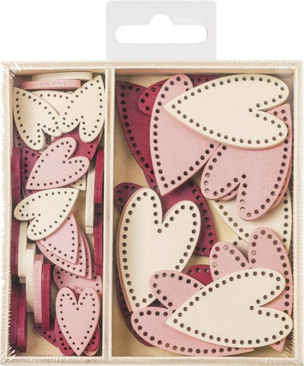 54 DECORAZIONI IN LEGNO colorate cuori cuore ORNAMENTI x SCRAPBOOKING cuoricini 293815842411