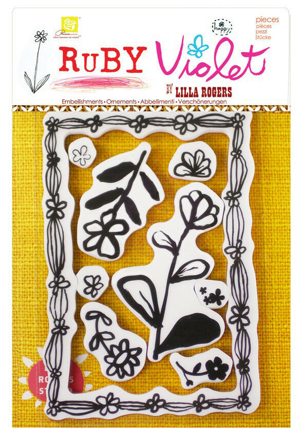 9 TIMBRI IN GOMMA Ruby Violet by Lilla Rogers FIORI CORNICE STAMP x SCRAPBOOKING 302688592141