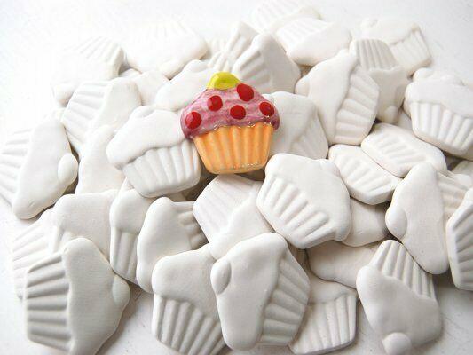 Cupcake in ceramica biscotto bianco da dipingere decorare bisque decorazioni 293575889751