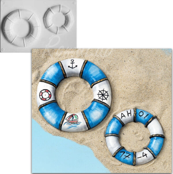 STAMPO con 2 FORMINE a tema marinaro salvagente boa di salvataggio estate gesso 302002138831