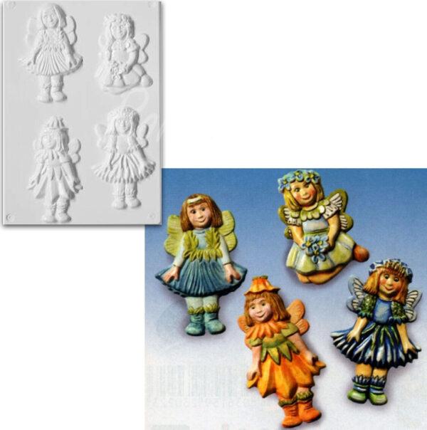 STAMPO con 4 FORMINE a forma di elfe elfa fata bambina per colate gesso ceramico 302002138611