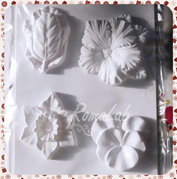 STAMPO con 4 FORMINE fiori flower MOLD FORMINA STAMPO per colate FORMINA STAMPI 291808110491