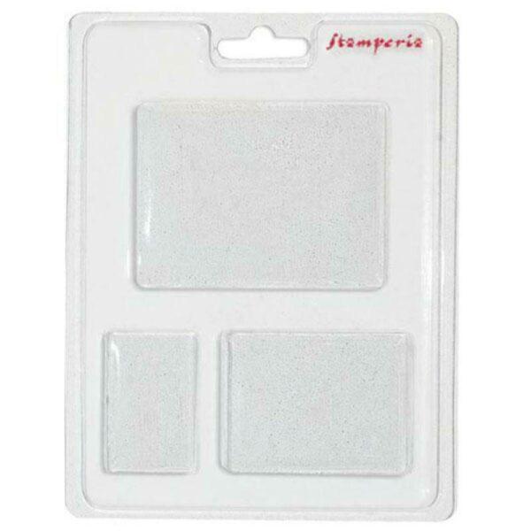 Stampo in plastica con 3 forme rettangolari per sapone gesso decorazioni Plas 303058174141