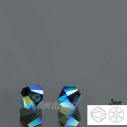 15 Cristalli Originali Swarovski BICONO 3 MM 5301 5328 280 AB 2X Jet B07L81997H