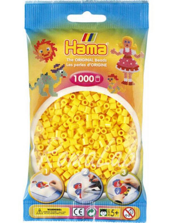1 CONFEZIONE DA 1000 HAMA BEADS LE ORIGINALI colore giallo scuro MIDI PERLINE 303723940542