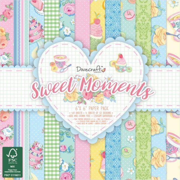 1 blocco 48 fogli stampati 15X15 cm SWEET MOMENTS Dovecraft paper scrapbooking 302883905732