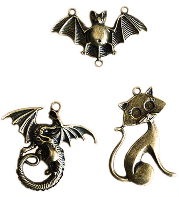 3 charms drago pipistrello gatto ciondoli in metallo charm color bronzo ciondolo 293574906562