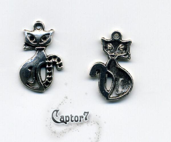 5 CHARMS GATTI gatto in argento tibetano OFFERTA MICI FELINI CIONDOLO PENDENTE 290712367172