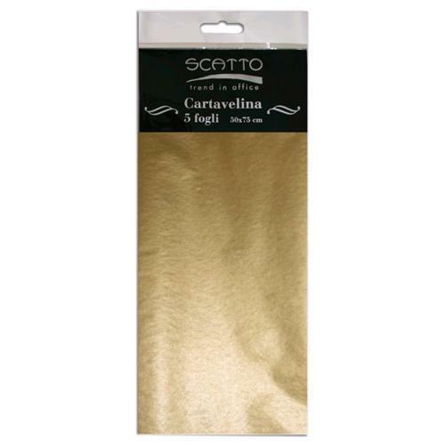5 FOGLI di CARTA VELINA 50X75 CM 17 GR colore oro SCATTO per fioristi 302412155122