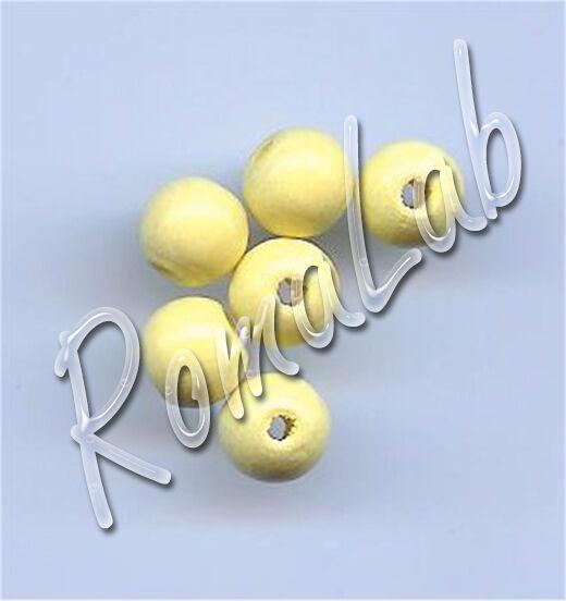 85 PERLE PERLINE DA 8 MM rotonde IN LEGNO verniciato giallo chiaro beads yellow 291597588082