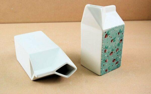 Brocca a forma di cartone del latte in ceramica biscotto Milk Carton Jug Smal 293575876872