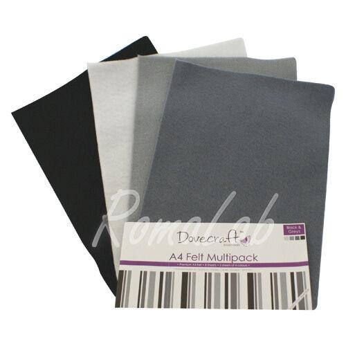 Confezione 8 fogli di feltro A4 in mix Dovecraft multipack toni nero grigio 302379429482