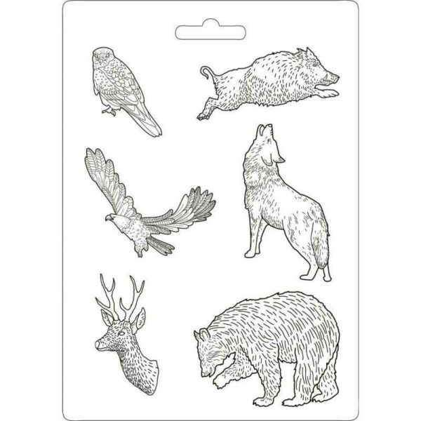 STAMPO A4 FLESSIBILE IN PVC A TEMA FOREST ANIMAL POWER formine stampi lupo 303743924742