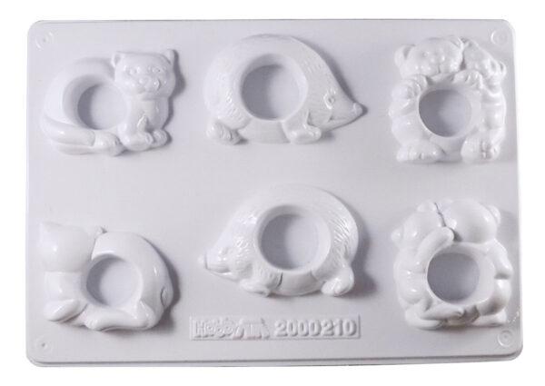 Stampo da 6 formine 3 portatovaglioli 3d animali colate gesso ceramico 292317113722